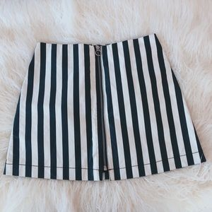 black + white striped skirt
